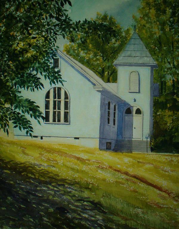 Landscape Art Print featuring the painting Edgemont Baptist Church by Shirley Braithwaite Hunt