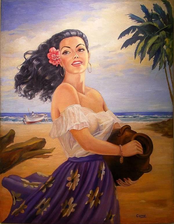 Beach Art Print featuring the painting En La Playa by Corral