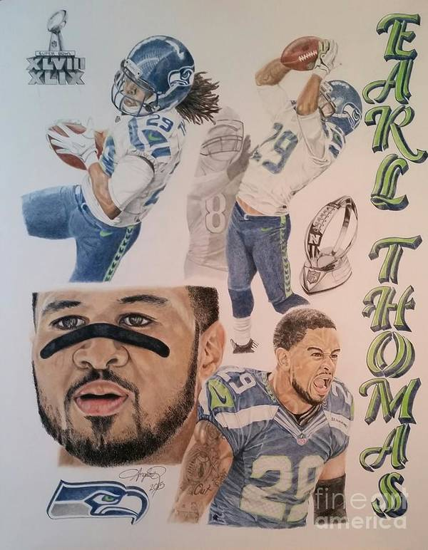Seahawks Art Print featuring the drawing ET3 by Angela Q