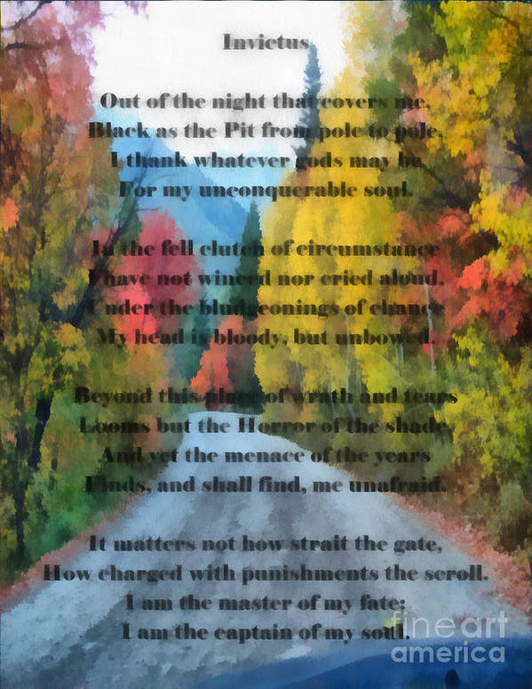 Fall Time Invictus Poem Painting Art Print