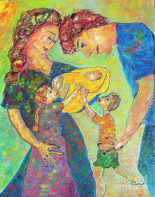Family Enjoying Each Other Art Print featuring the painting Family Matters by Naomi Gerrard