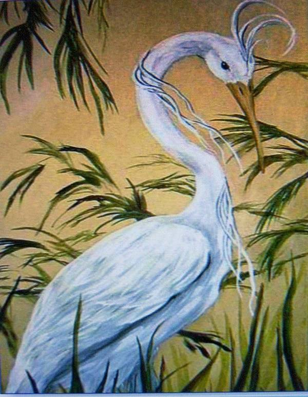 Bird Art Print featuring the painting Fantasy Heron by Patricia R Moore