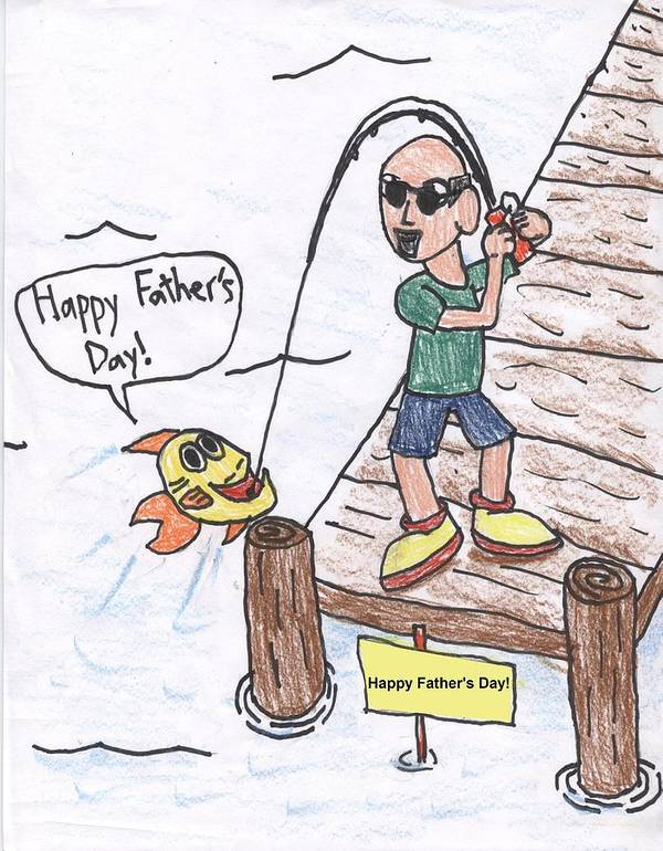 Father's Day Art Print featuring the drawing Father's Day by Jayson Halberstadt