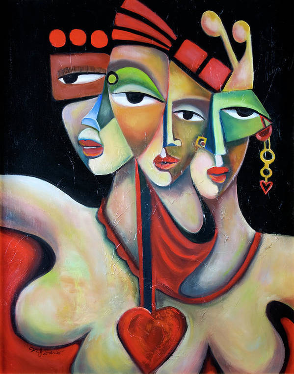 Festive Fiesta Women Party Red Green Abstract Figurative Cubist Cubism Art Print featuring the painting Fiesta by Niki Sands