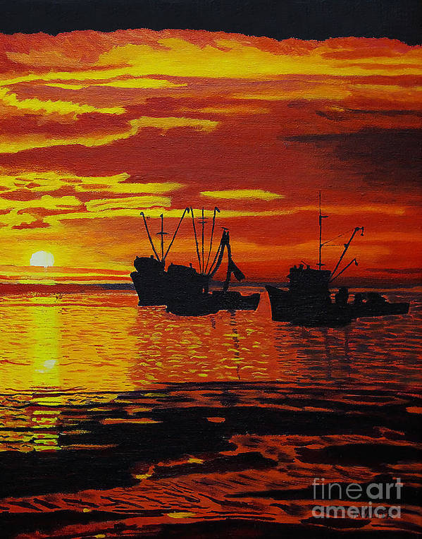 Sunsets Art Print featuring the photograph Fishing Boats At Sunset by Rich Walter