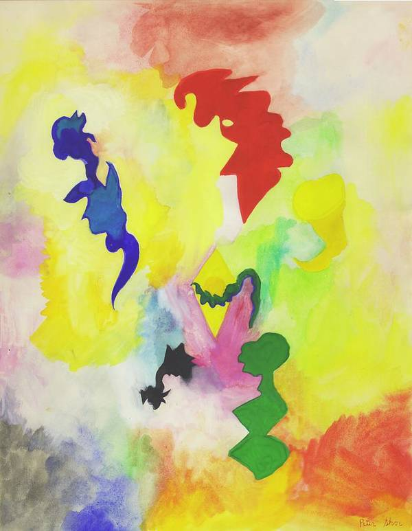 Abstract Art Print featuring the painting Floating Beings by Peter Shor