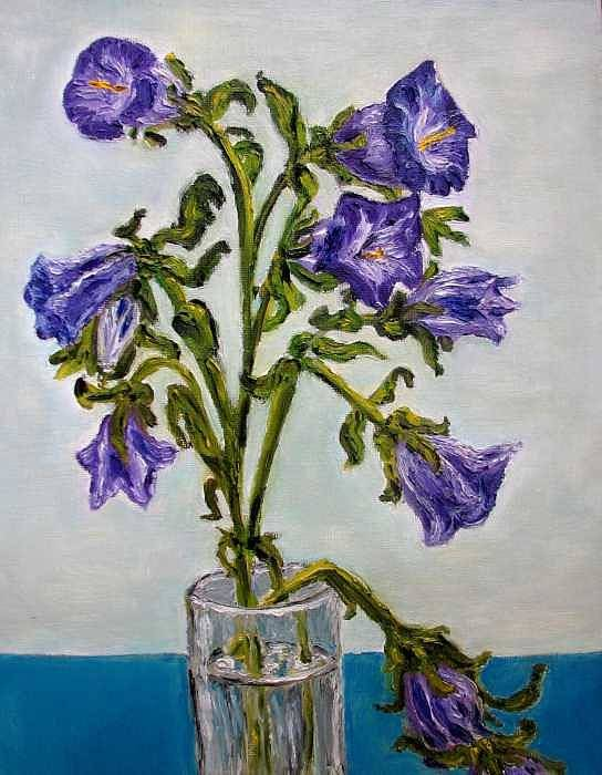 Flower Art Print featuring the painting Flower Bluebells Original Oil Painting by Natalja Picugina