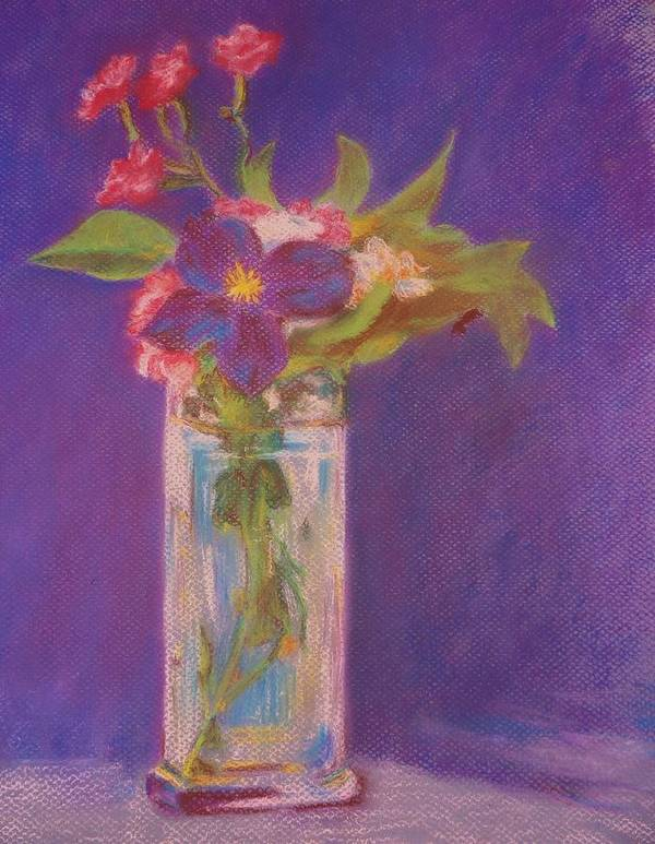 Flowers Art Print featuring the painting Flowers In A Vase After Manet by Rosemarie Perks