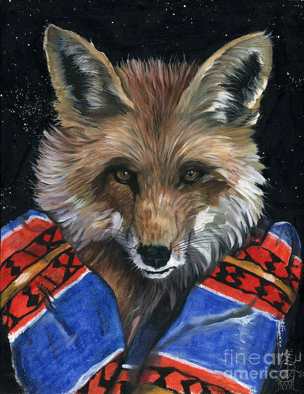 Fox Art Print featuring the painting Fox Medicine by J W Baker