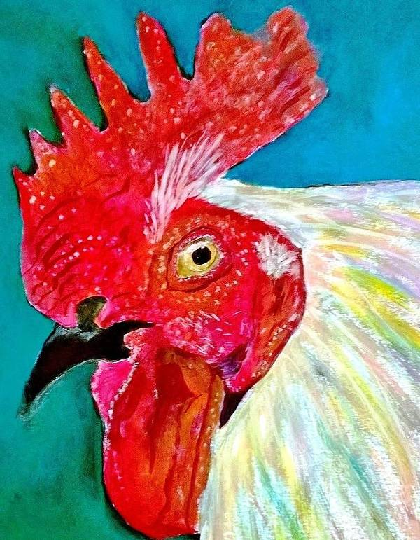 Rooster Art Print featuring the painting Funky Rooster by Anne Sands