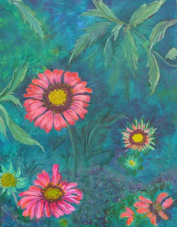 Garden Art Print featuring the painting Gallardia by Peggy King