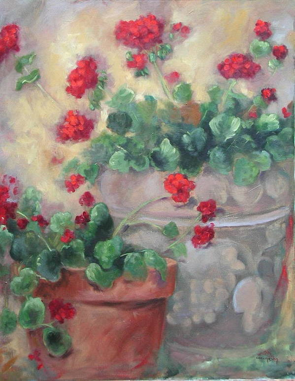 Geraniums Art Print featuring the painting Geraniums by Ginger Concepcion