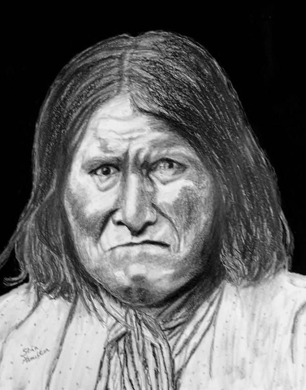 Indian Portrait Art Print featuring the drawing Geronamo by Stan Hamilton