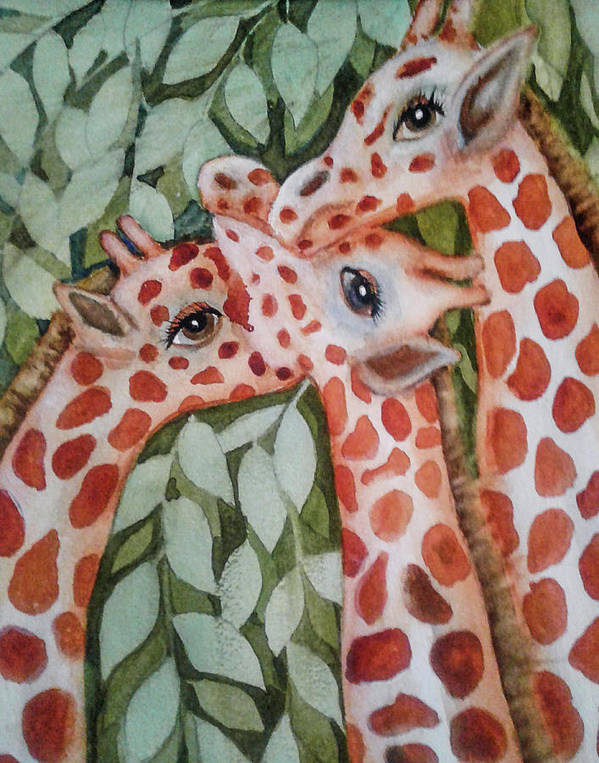 Painting Art Print featuring the painting Giraffe Trio By Christine Lites by Allen Sheffield