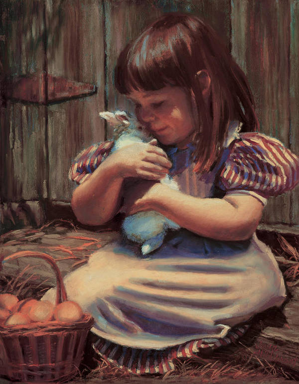 Girl Art Print featuring the painting Girl With A Bunny by Jean Hildebrant