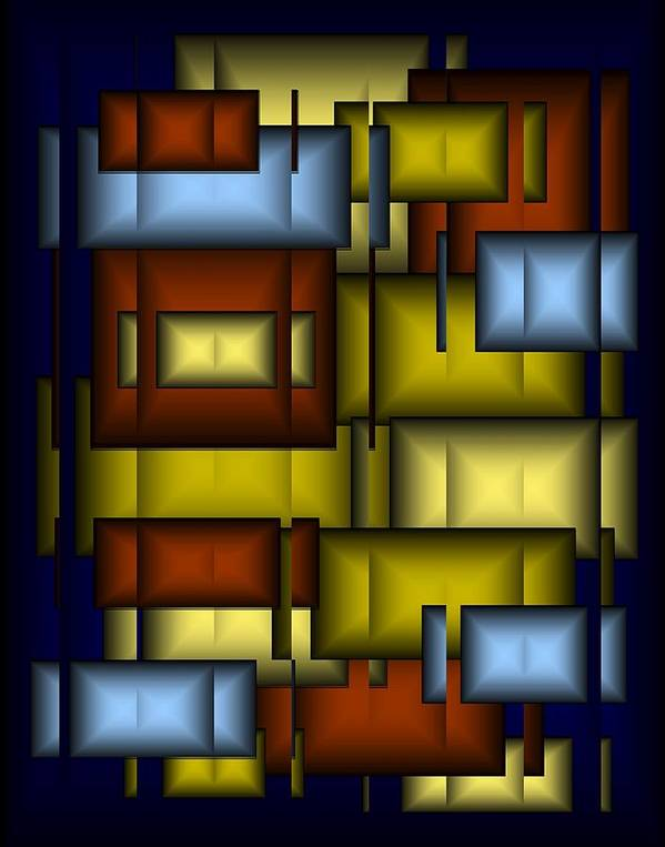 Glass Art Print featuring the digital art Glass Tile Abstract by Terry Mulligan