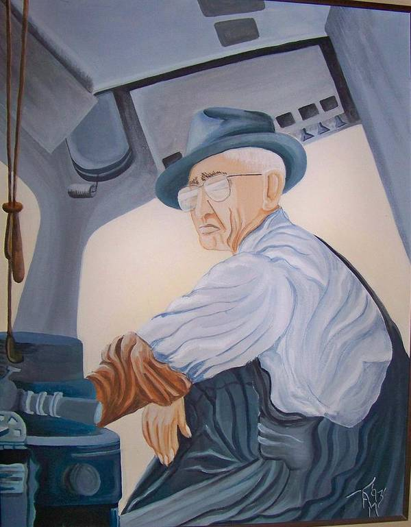 Southern Pacific Railroad Art Print featuring the painting Grandpa Albee by Tammera Malicki-Wong