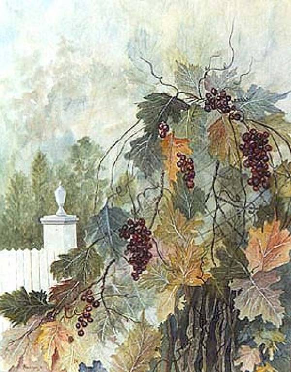 Fruit Art Print featuring the painting Grapevine Topiary by Ben Kiger