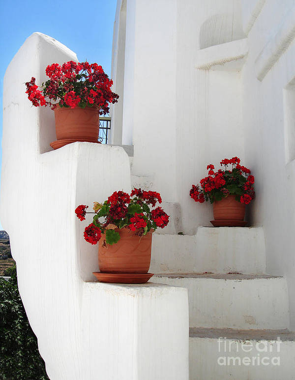 Aegean Art Print featuring the photograph Greek Steps by Jane Rix