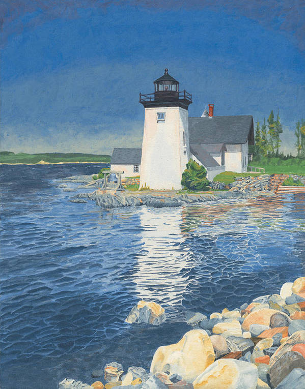 Lighthouse Art Print featuring the painting Grindle Point Light by Dominic White