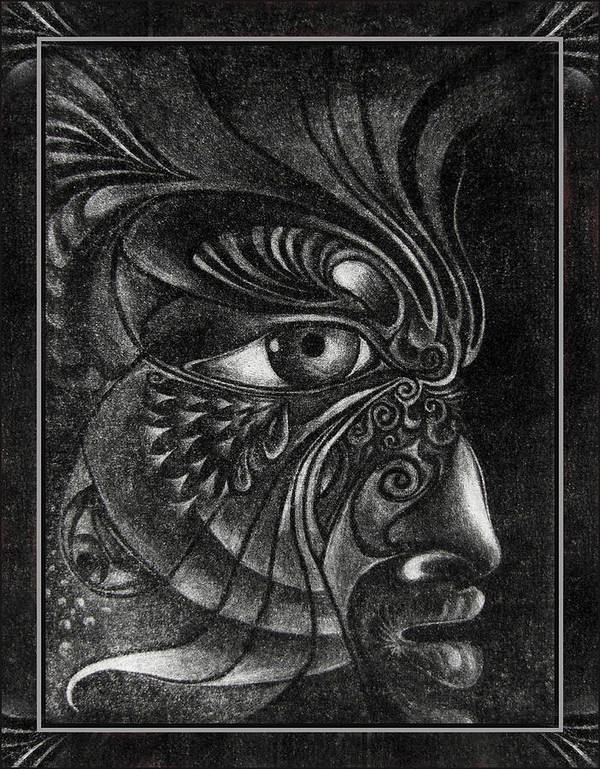 Mezzotint Art Print featuring the drawing Guardian Cherub by Otto Rapp
