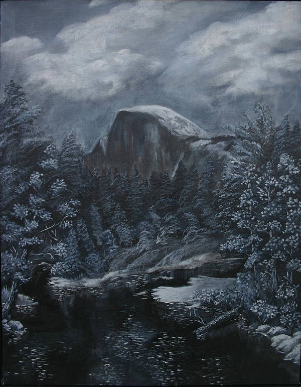 Yosemite Art Print featuring the painting Half Dome Black And White by Travis Day