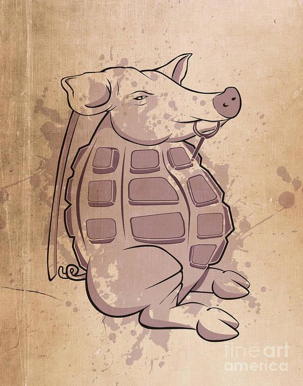 Pig Art Print featuring the digital art Ham-grenade by Joe Dragt