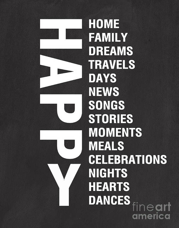 Typography Art Print featuring the mixed media Happy Things by Linda Woods