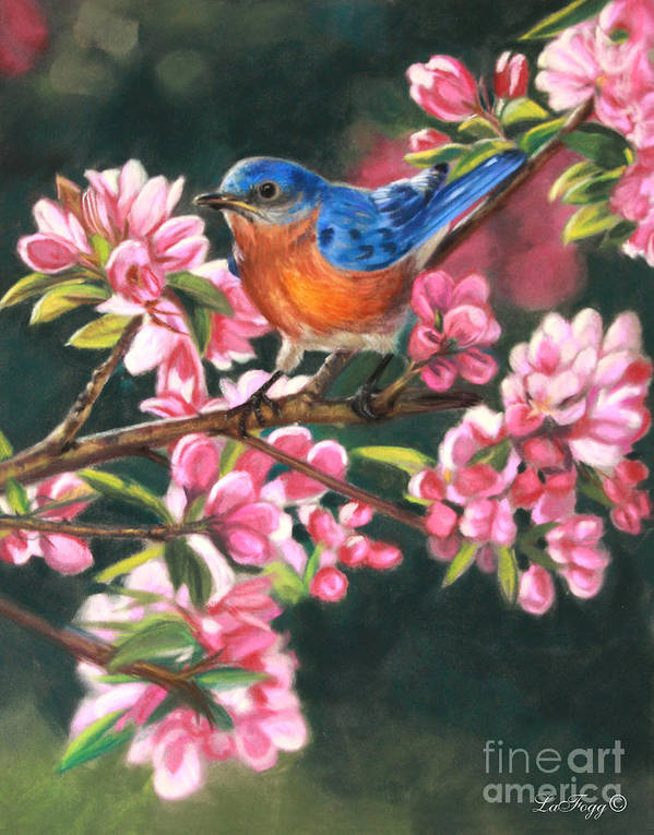 Blue Bird Art Print featuring the painting Harbingers Of Spring by Deb LaFogg-Docherty