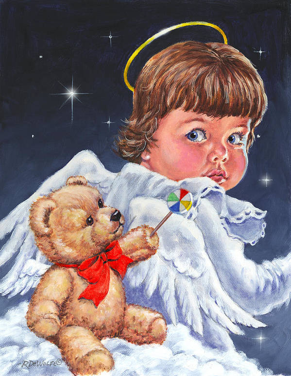 Angel Art Print featuring the painting Heavenly by Richard De Wolfe
