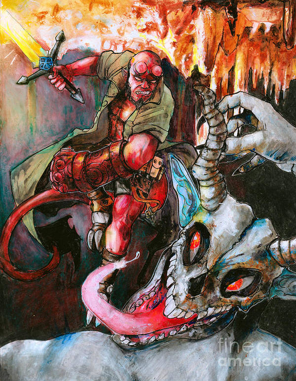 2aa2335f51f Landscape Art Print featuring the painting Hellboy Fanart by Justin Cdebaca