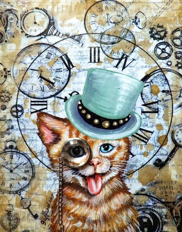 Green Orange Tabby Cat Orange Striped Kitty Kitten Jewel Monocle Chain Goggles Cogs Gears Steampunk Victorian Era Clocks Watches Halo Key Time Coffee Stains Aged Page Hand Writing Antique Vintage Original Painting Abstract Art Whimsical Funny Cute Adorable Smiling Smile Happy Friendly Sweet Heart Coin England Great Britain Studs Top Hat Olie Cannoli Griffard Anna Original Painting Abstract Art Paintings Keys Heart Art Print featuring the painting Hello Kitty by Anna Griffard