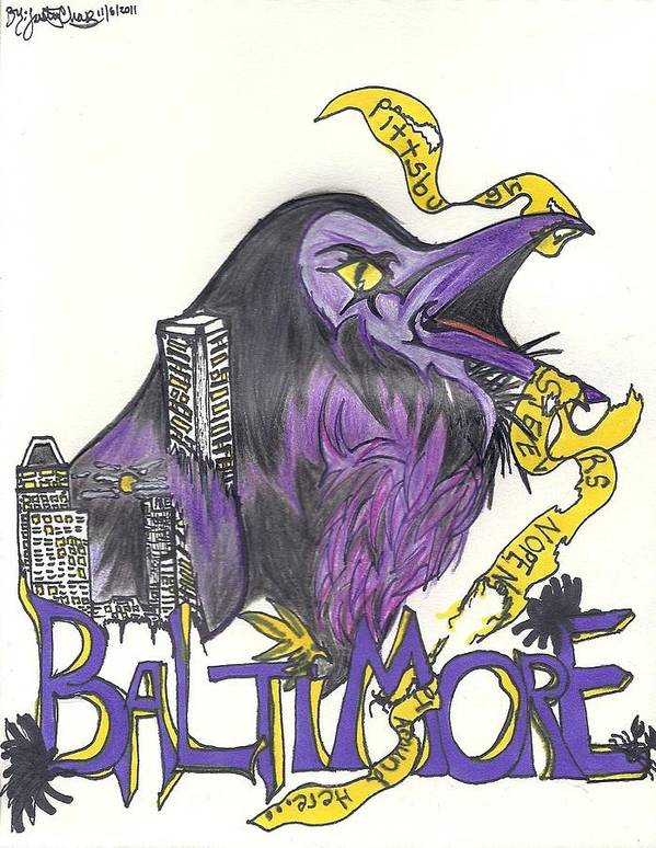 Ravens Art Print featuring the drawing Hometeam by Justin Chase