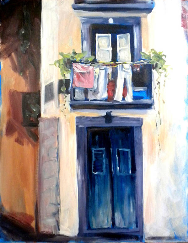Portugal Art Print featuring the painting House In Lisbon by Paula Strother