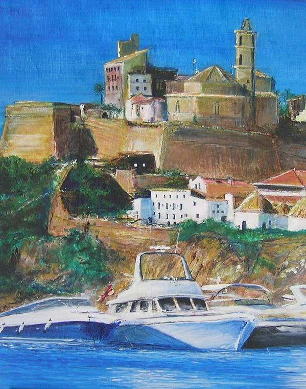 Original Landscape Painting Art Print featuring the painting Ibiza Town by Lizzy Forrester