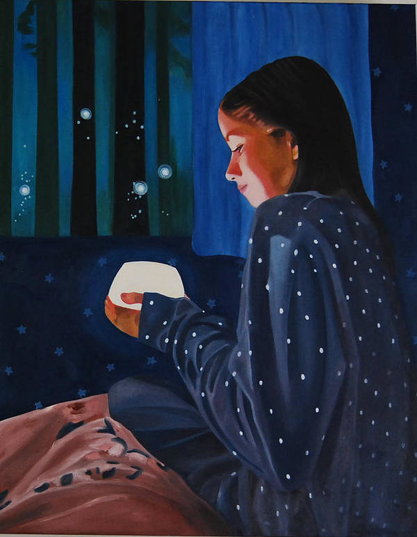 Girl Holding A Lamp And Fireflies Nightscape Art Print featuring the painting In The Light by Veronica Maldonado