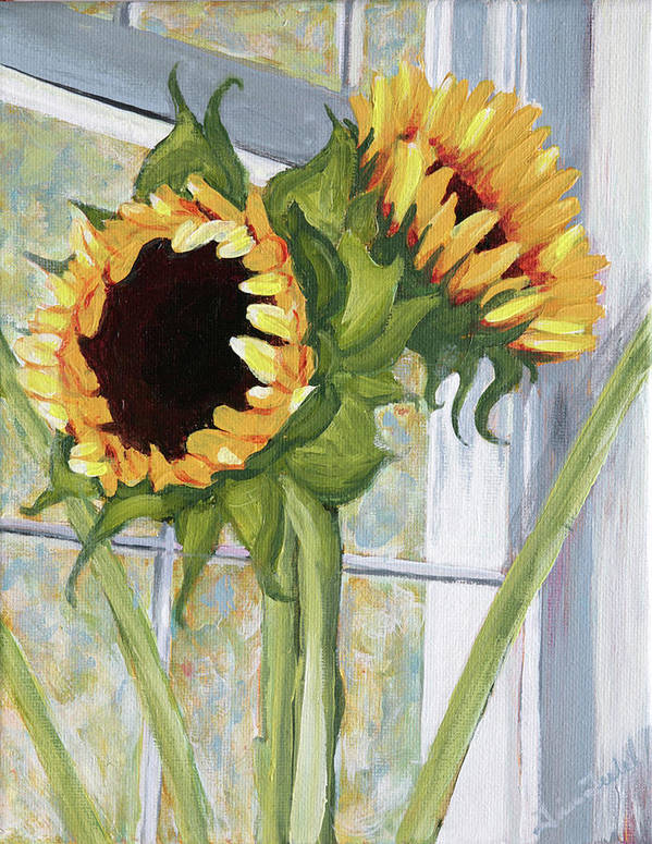 Sunflower Art Print featuring the painting Indoor Sunflowers II by Trina Teele