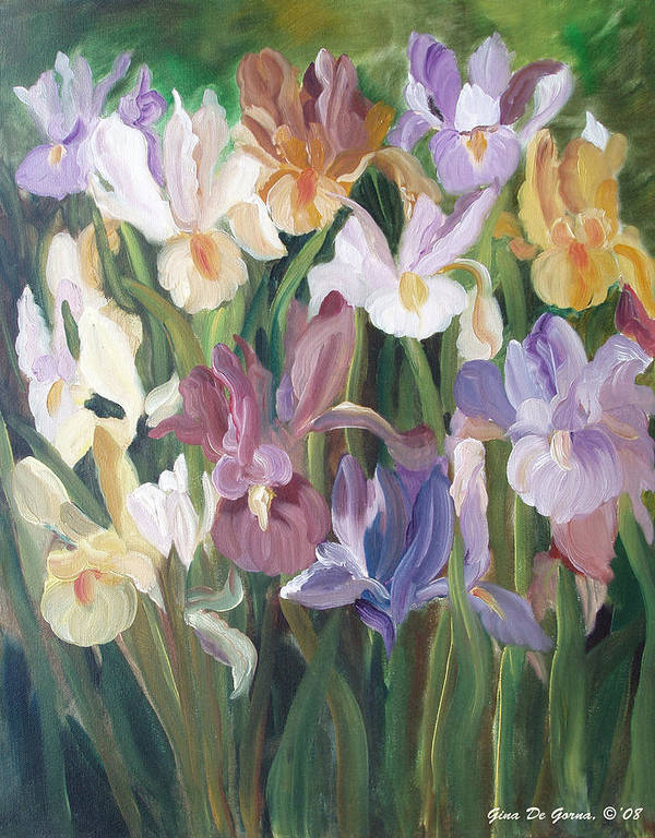 Irises Art Print featuring the painting Irises by Gina De Gorna