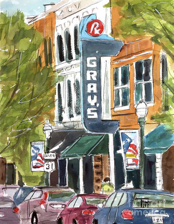 Franklin Art Print featuring the painting Its Friday In Franklin by Tim Ross