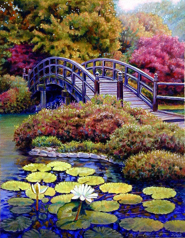 Japanese Bridge Art Print featuring the painting Japanese Bridge by John Lautermilch