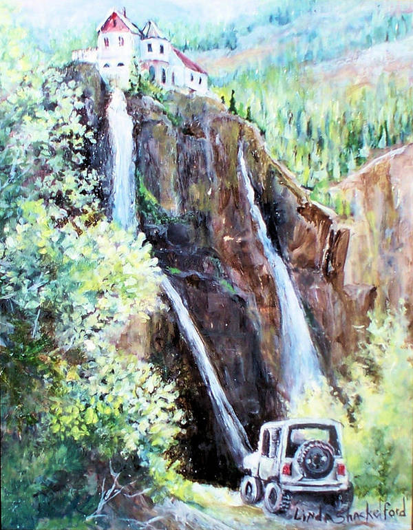Waterfall Art Print featuring the painting Jeeping At Bridal Falls by Linda Shackelford