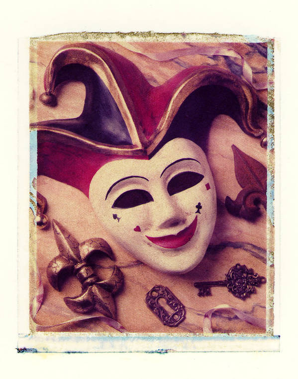Jester Mask Key Ribbon Art Print featuring the photograph Jester Mask by Garry Gay