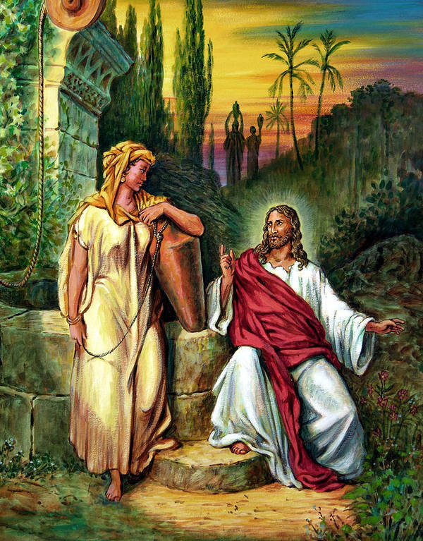 Jesus Art Print featuring the painting Jesus And The Woman At The Well by John Lautermilch