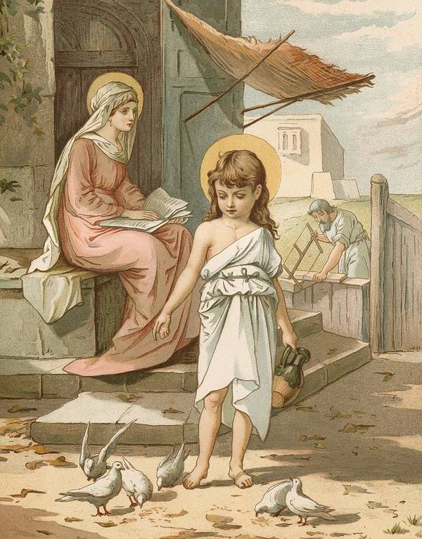 Bible; Jesus; Child; Boy; Playing; Doves; Birds; Joseph; Work; Carpenter; Carpentry; Virgin Mary; Reading; Yard; Feeding; Sentimental; Sentimentality Art Print featuring the painting Jesus As A Boy Playing With Doves by John Lawson