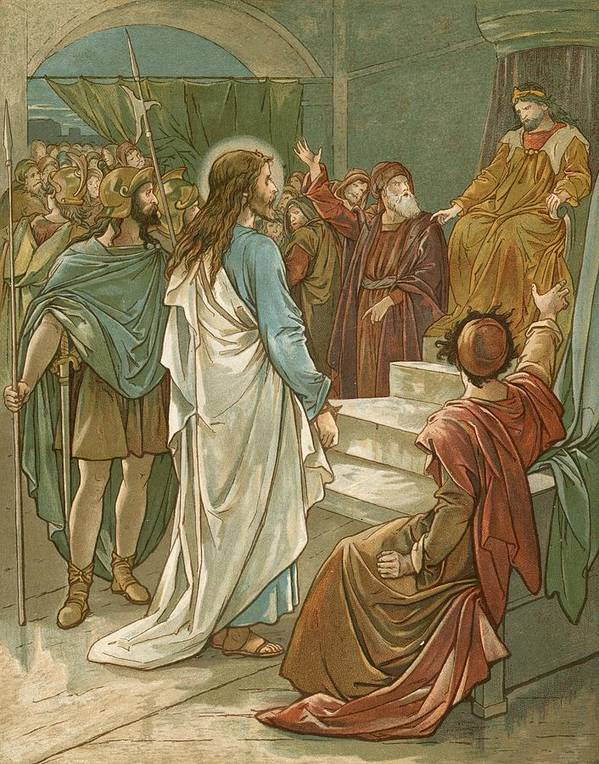 Bible; Jesus Christ; Pontius Pilate; Trial; Soldiers; Romans Art Print featuring the painting Jesus In Front Of Pilate by John Lawson