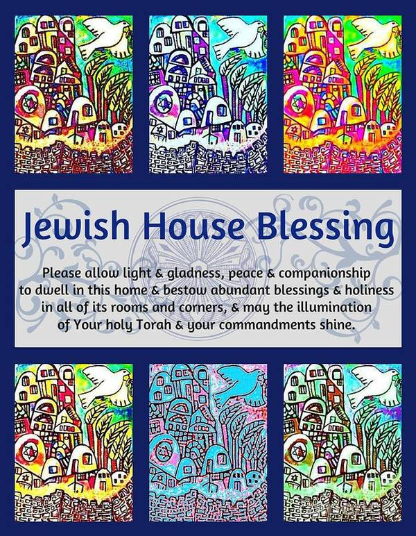 Jewish Art Print featuring the painting Jewish House Blessing City Of Jerusalem by Sandra Silberzweig