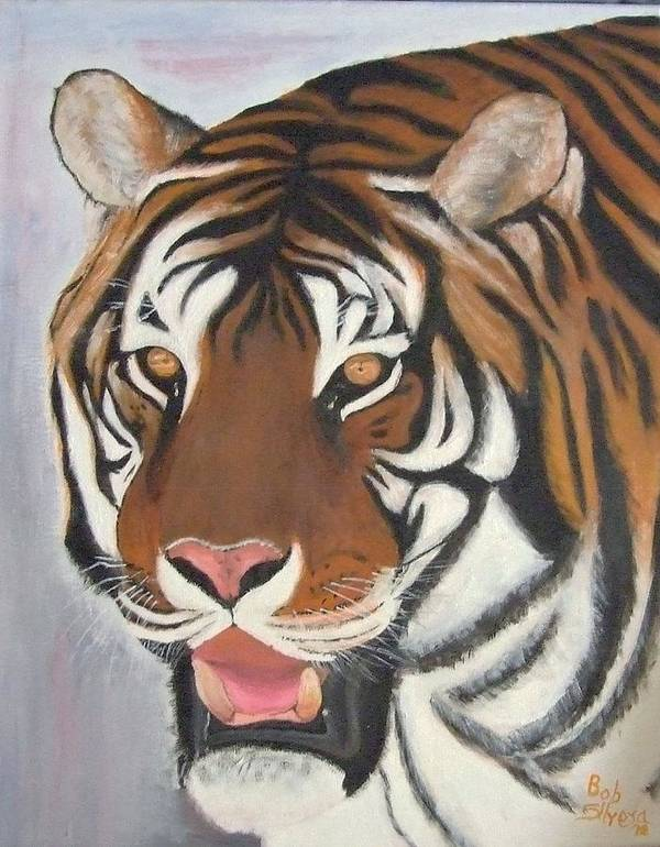 Animals Art Print featuring the painting Kathystiger by Robert Silvera