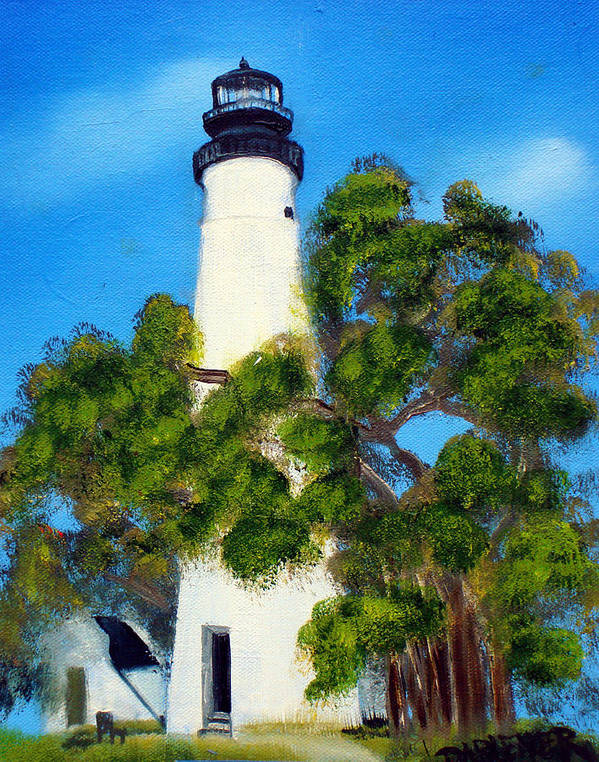 Lighthouse Art Print featuring the painting Key West Lighthouse by Darlene Green