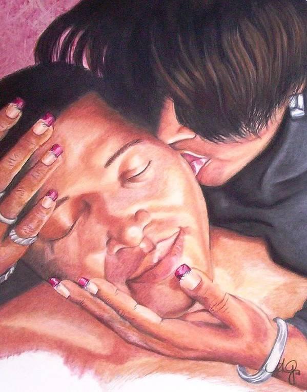 Angela Mustin Art Print featuring the pastel Kissofawoman by Angela Mustin