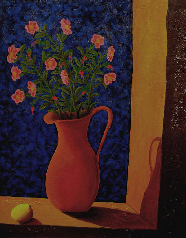 Still Life Art Print featuring the painting Lemon And Prairie Roses by Arnold Isbister